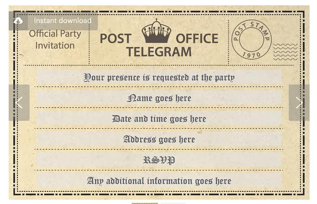 Digital PDF - telegram invitation